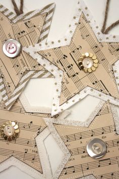Fabric and paper Christmas ornaments by Holly Marder for Houzz.