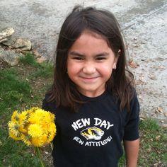 Addison holding flowers