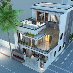 3 Storey House Design, House Roof Design, Home Building Design, Bungalow House Design, 3d Home Design, Best Modern House Design, Modern Exterior House Designs, Modern Villa Design, Architect Design House