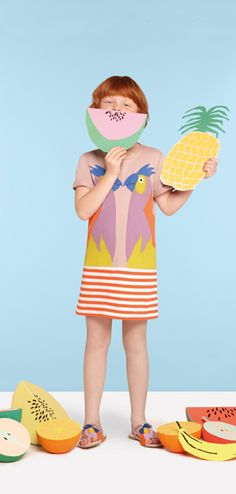 A pair of parrots in sherbet hues decorates this summery Stella McCartney mini dress - perfect for your favourite little fashionista!