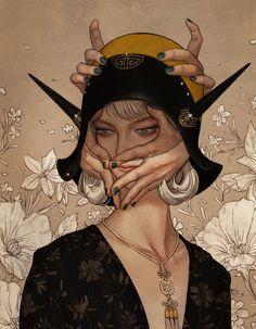ArtStation - face & hands, Kyoung Hwan Kim Character Concept, Concept Art, Character Design, Black Mage, Velvet Painting, Fashion Design Sketchbook, Photoshop Me, Cg Art, Fantasy Characters