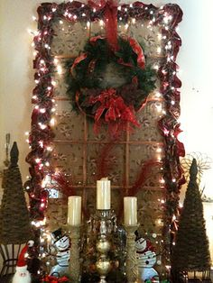 Decorate an old window for Christmas