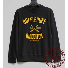 Hufflepuff Quidditch Shirt Harry Potter Sweatshirt Sweater Hoodie... ($28) ❤ liked on Polyvore featuring tops, hoodies, hooded pullover, sweatshirts hoodies, hoodie shirt, shirt hoodies and hoodie sweatshirts