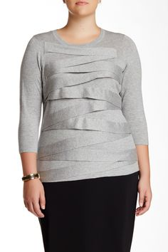 Vince Camuto | 3/4 Sleeve Zig Zag Sweater (Plus Size) | Nordstrom Rack