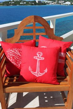 Love these red nautical pillows also!