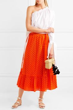 Tory Burch - Hermosa Broderie Anglaise Cotton Wrap Skirt - Orange - US14