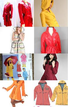 Buy vintage mod raincoat, sew your own rain jacket with a diy pattern, or choose a sharp rain slicker from one of the talented designers on etsy more ideas posted on http://schulmanart.blogspot.com/2013/09/rainy-day-fashion.html