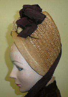 bonnets 1870 | ... 1870 1880 19th C Womens Bustled Dress Fancy Straw Bonnet Hat | eBay