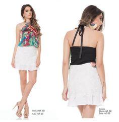 Look blusa com saia Azzoug. Primavera/verão 2015.