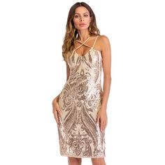 72d1105ae3d577 US $19.69 40% OFF|Aliexpress.com : Buy Versear Sexy Sequin Party Dress  Women 2019 Champagne Color Sleeveless Strap Bandage Ladies Bodycon Mini  Summer ...
