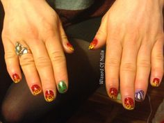 Autumn leopard print nails with leaves and a butterfly