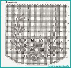 Kira Scheme Crochet: Scheme Crochet No. Crochet Curtain Pattern, Crochet Applique Patterns Free, Graph Crochet, Filet Crochet Charts, Crochet Curtains, Crochet Cross, Crochet Round, Thread Crochet, Crochet Motif