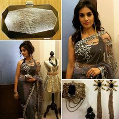 #APITConnect - Navratri Day 5 - Grey I was pleasantly surprised that grey was one of the Navratri colours.  Stone embellished Saree with a black halter blouse by #rituseksariacouture Golden chained cuff and earrings by #accessoryquotient Finger ring by #shimmershack & a metal finish clutch bag perfect for an evening cocktail #vyoum @prachethestylist Who's joining me for post dandiya party  #9days9colours by Sonali Kulkarni http://bit.ly/1LUGlMz