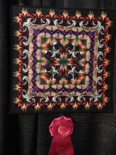 George Siciliano, 6500 pieces of LOG CABIN to make this sampler sized masterpiece at Houston International Quilt Show for 2014
