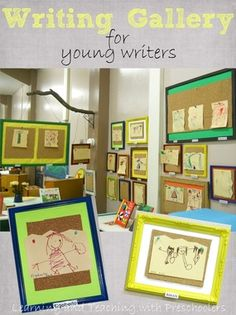 Framing student writings and drawings. Pre Writing, Writing Workshop, Kids Writing, Eyfs Activities, Writing Activities, Preschool Literacy, Early Literacy, Emergent Literacy, Classroom Pictures