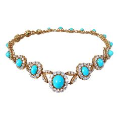 VAN CLEEF & ARPELS - Turquoise & Diamond Necklace | From a unique collection of vintage link necklaces at http://www.1stdibs.com/jewelry/necklaces/link-necklaces/