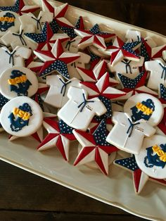 US Navy cookies, greatexpectations. Navy Party Themes, Us Navy Party, Pink Cookies, Iced Cookies, Sugar Cookies, Military Retirement Parties, Retirement Cakes, Retirement Ideas, Retirement Countdown