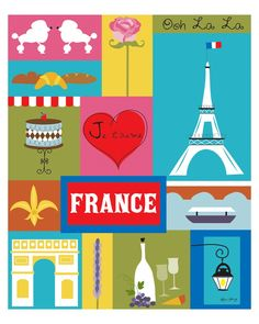 France - Collage by Loose Petals. Finally bought this for my bedroom. I just love it. Only $39 US.