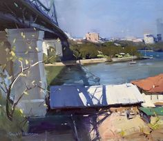 """Colley Whisson     In the Shadows of the Bridge, Brisbane 11""""x 13"""" oil"""