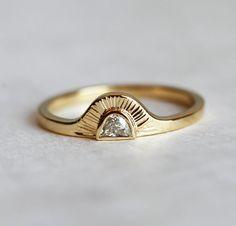 Sunrise Ring Half Moon Diamond Ring Bohemian by MinimalVS on Etsy diamond rings Bohemian Engagement Ring, Half Moon Diamond Sunrise Ring, Sun Rays Ring Ring Set, Ring Verlobung, Jewelry Rings, Fine Jewelry, Gold Jewelry, Jewelry Logo, Swarovski Jewelry, Simple Jewelry, Vintage Jewellery