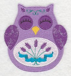 Ohli the Owl with Lavender design (K8514) from www.Emblibrary.com