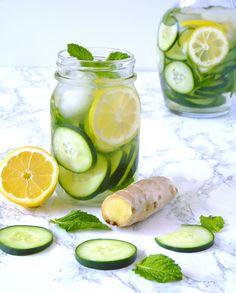 Cucumber lemon ginger water is the perfect summer detox water! It's refreshing, hydrating, and revitalizing. Infused with the flavors and benefits of mint, cucumber, ginger, and lemon!