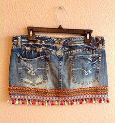 Miss Me upcycled denim skirt with mini irridescent tassels | Etsy Boho Chic, Bohemian, Miss Me, Recycled Denim, Cute Skirts, Mini, Trendy Outfits, Denim Skirt, Tassels