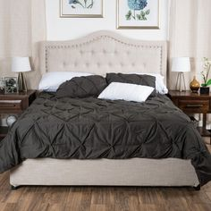 Christopher Knight Home Dante Upholstered King Tufted Fabric Bed Set
