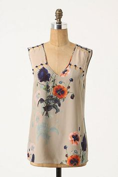 Anthropologie Ottoman Poppies Tank Leifsdottir Blouse