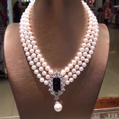 Triple Strand Freshwater Pearl Necklace with Luxurious Pendant - AA Garnet Jewelry, Turquoise Jewelry, Pearl Jewelry, Wedding Jewelry, Pearl Necklace Wedding, Wedding Rings, Bead Jewellery, Fashion Jewelry Necklaces, Jewelry Sets