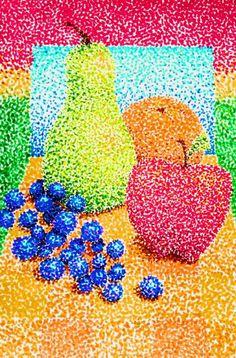 Täpitehnikas natüürmort puuviljadest