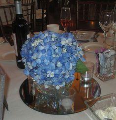Blue Hydrangea Centerpiece in Cube Vase