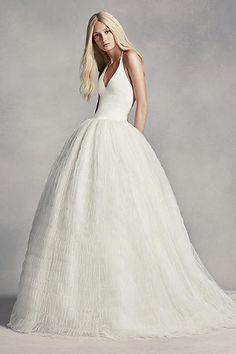 White by Vera Wang Halter Tulle Wedding Dress VW351303