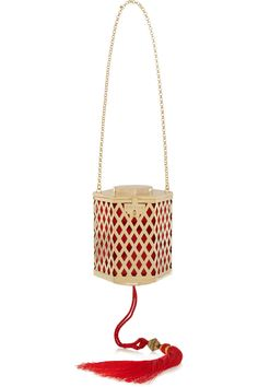 Kotur|Lantern tasseled gold-plated shoulder bag|NET-A-PORTER.COM