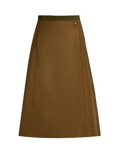 Maison Margiela Wrap-front A-line wool skirt  Fresh from the AW16 runway, this…
