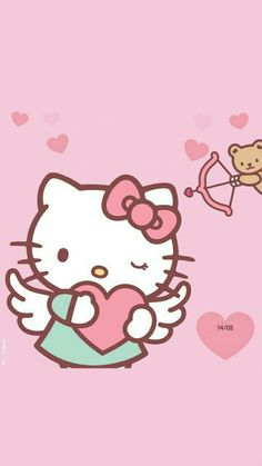 Hello Kitty. #hellokitty Hello Kitty Art, Hello Kitty My Melody, Sanrio Hello Kitty, Hello Kitty Backgrounds, Hello Kitty Wallpaper, Kawaii Wallpaper, Free Fall Wallpaper, Hello Kitty Pictures, Friends Wallpaper