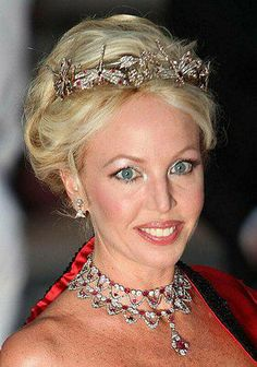Dragonfly tiara by Chaumet (c1900) worn by Camilla, Princess of Bourbon-Two-Sicilies, the Duchess of Castro with a ruby parure, also by Chamuet.