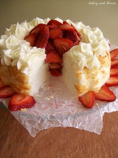 Baking with Blondie : Angel Food Cake with Strawberries super bowl party inspiration?? Add lemon.