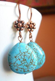 Howlite large teardrop copper earrings by Sueanne Shirzay on Etsy, $30.00