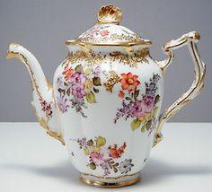 Dresden Floral Painted Porcelain Teapot