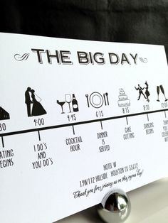 Custom DIY Printable Wedding Timeline in modern font in black and white in size…