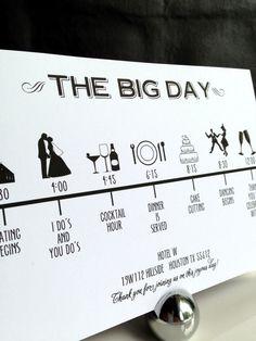 Custom DIY Printable Wedding Timeline in black and white in size 5x7