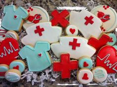 Nurse Cookies for reception instead of groom and bride shaped because i will be a nurse think it will be cute!