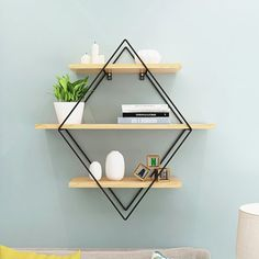 Buy 4 Type Iron Metal Retro Wood Wall Storage Shelves Bookshelf Storage Holder Book Rack Modern Bedroom Office Kitchen Bathroom Decoration Hanging at Wish - Shopping Made Fun Wall Shelf Rack, Wall Storage Shelves, Wood Wall Shelf, Shelves In Bedroom, Display Shelves, Wall Shelf Decor, Storage Rack, Regal Display, Diy Regal