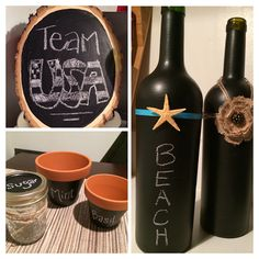 Chalk wine bottles, wood slice, mason jar and pots