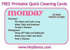 FREE Printable Quick Cleaning Cards from www.HeyDonna.com