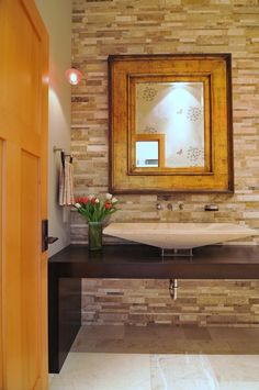 Contemporary Powder Room with Porcher above counter basin, specialty door, Vessel sink, Pendant light, Powder room