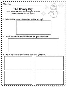 Differentiated Comprehension Questions The Snowy Day FREEBIE - Lisa Rombach - TeachersPayTeachers.com