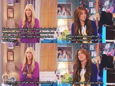 Miley and Hannah Hannah Montana Funny, Hannah Montana Quotes, Hannah Montana Outfits, Hannah Montana Forever, 2000s Disney Shows, Old Disney Shows, Disney Memes, Disney Quotes, Funny Disney