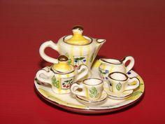 Vintage Miniature Tea Set Tiny Dollhouse Tea Service, Handpainted, 1950's by TygerVintage, $14.99